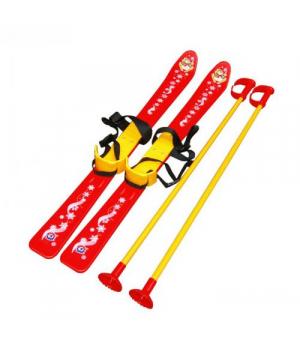 Лыжи с палками, детские, красные 3350