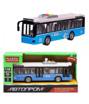 Автобус игрушка с открывающимися дверями, свет, звук, Автпром (синий)