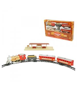 """Игрушка железная дорога с паром светом и звуком, """"Путешествие во времени"""", красный K1107"""