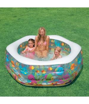 """Высокий детский надувной бассейн """"Аквариум"""" Интекс"""