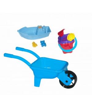 Детская тачка с лодочкой и песочным набором (голубая) KW-01-127