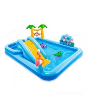 Детский надувной бассейн для дачи с горкой, Интекс, от 3 лет