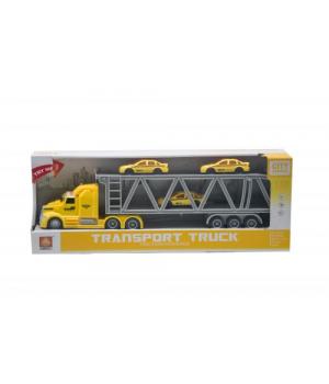 Игрушка фура с трейлером и машинками (желто-серая) WY782A