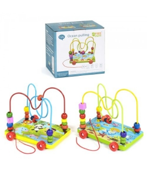 Игрушка деревянный лабиринт каталка Зверушки, MUQIY Toys