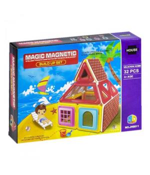 Конструктор магнитный домик, 32 детали