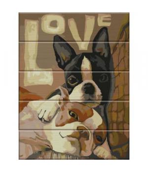"""Картина по номерам на дереве """"LOVE"""" ASW021 40х30 см"""