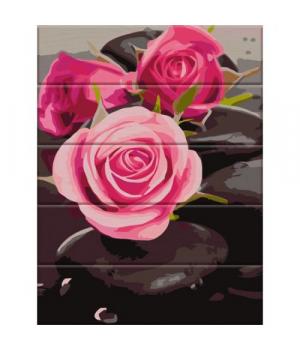 """Картина по номерам на дереве """"Розы на камнях"""" ASW081 40х30 см"""