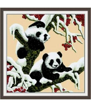 """Вышивка крестиком по номерам """"Снежные панды"""" D028"""