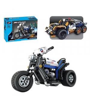 Конструктор полицейский мотоцикл, 282 детали, инерционный механизм