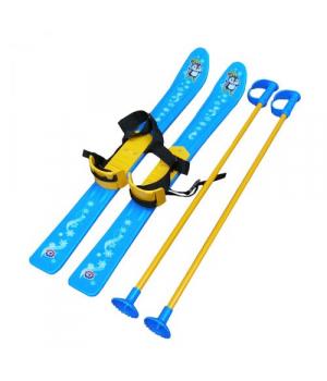 Лыжи с палками, детские, голубые 3350