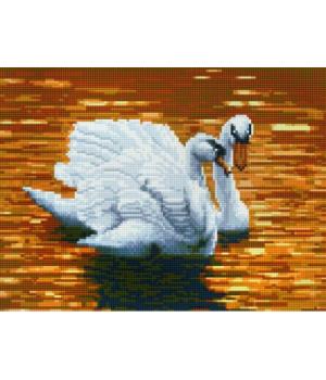 "Алмазная мозаика ""Лебеди на закате"" EJ456"