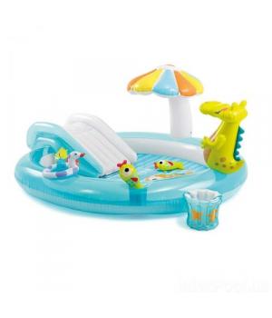 Надувной бассейн для детей с горкой Крокодил, Intex