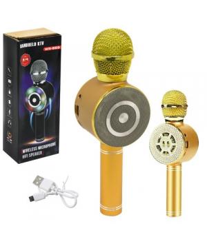 """Беспроводной светодиодный микрофон """"Караоке"""", золотистый"""