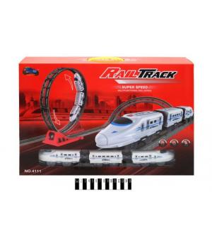 """Трек железная дорога """"Rail Track"""", 37 элементов + поезд 4111"""