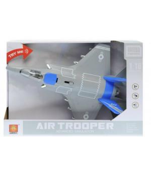 """Инерционный самолёт истребитель """"Air Trooper"""", звук, свет (синий) WY770B"""