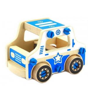 Конструктор полицейский автомобиль деревянный, 11 деталей Д429