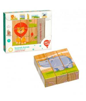 """Кубики деревянные игрушка """"Саванна, 9 штук LL123"""