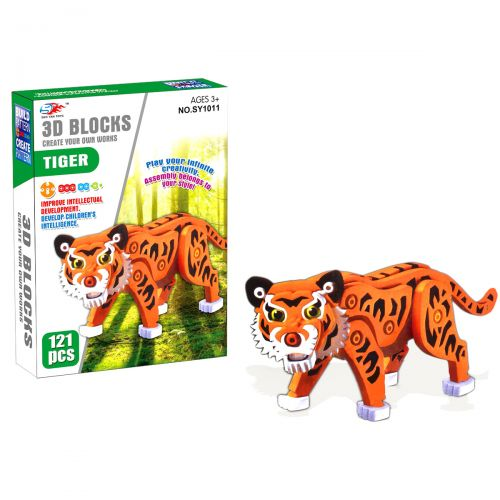 """Детский конструктор с животным, мягкий """"Тигр"""", 121 деталь SY1011"""