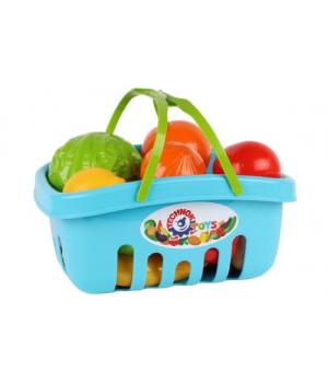 Игрушечные овощи и фрукты для детей, в корзине (синий)