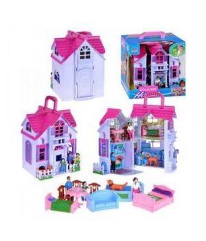 Детская игрушка домик для кукол, с фигурками и мебелью