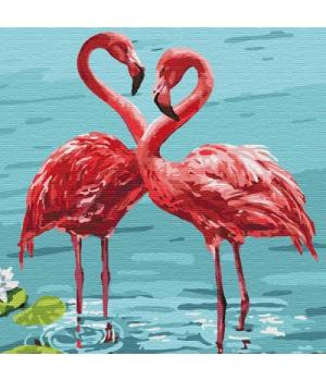 """Картина по номерам """"Яркие фламинго"""" ★★★★ КНО4197 30х30 см"""