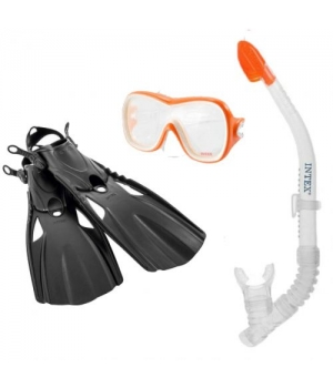 Маска с трубкой для подводного плавания детская от 8 лет, Intex