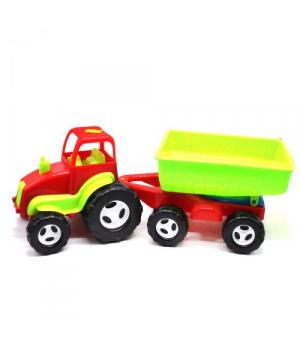 Игрушечный трактор с прицепом (красный), 70 см, KW-07-709