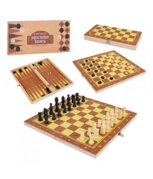 Шахматы 3в1, деревянная доска, деревянные шахматы