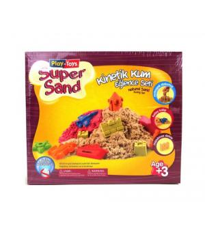 """Кинетический песок набор с пластиковой песочницей и формочками, 0,5 кг KidSand """"Super Sand"""""""
