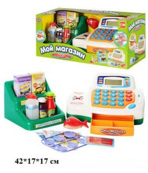 Игрушечный кассовый аппарат с деньгами и кредитной картой