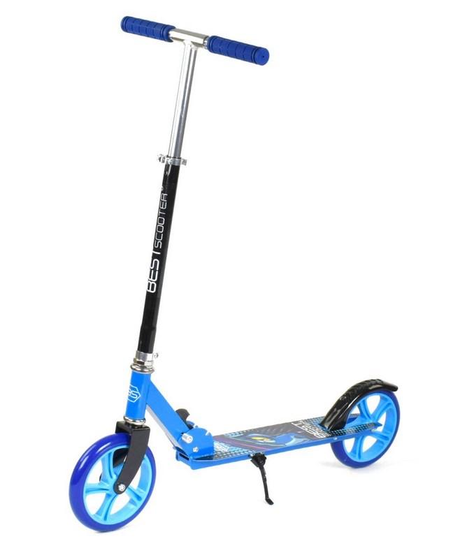 Самокат синій двоколісний, складний, з великими колесами, Best Scooter